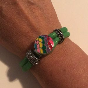 Jewelry - Green Rope Snap Bracelet With Snap